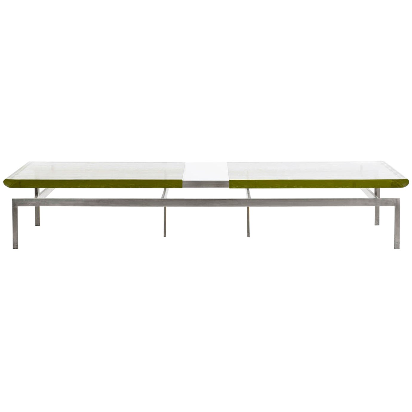 Duran Coffee Table with Thick Borosilicate Glass Top and Nickel Base