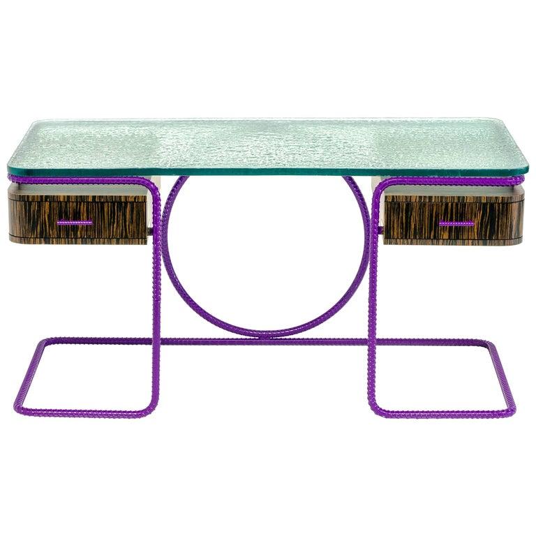 21st Century Contemporary Steel Frame Macassar Ebony Glass Custom Handmade Desk For Sale