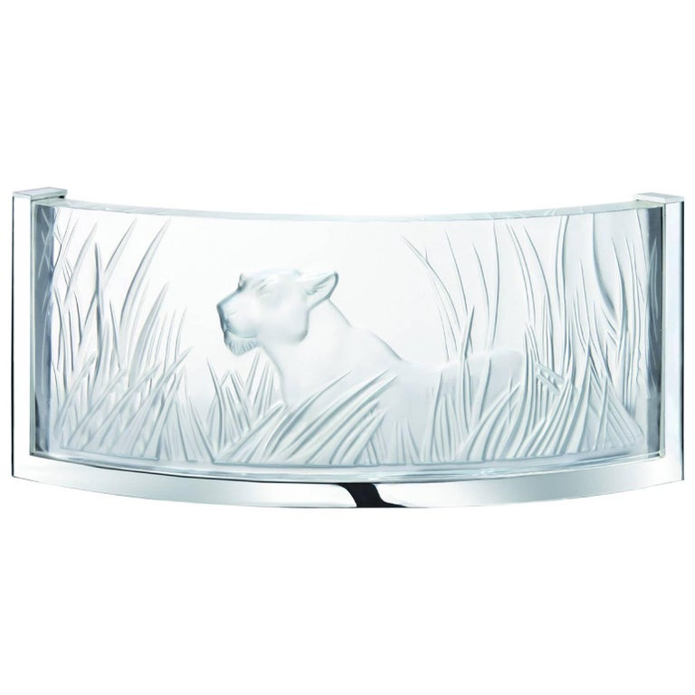 Lalique Jungle-Inspired Kora Crystal and Chrome Wall Sconce For Sale at 1stdibs