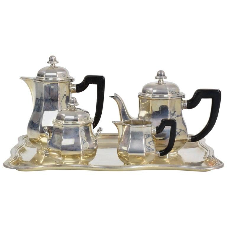 French Art Deco Ercuis Silverware Tea Service
