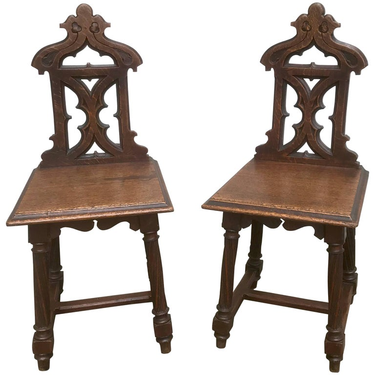 Pair of English Gothic Revival Oak Hall Chairs