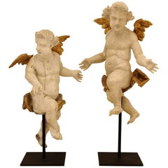 Pair of Late 17th Century German Putti Sculptures in Carved Wood
