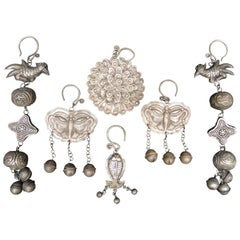 Collection of Six Vintage Miao Silvered Metal Ornaments
