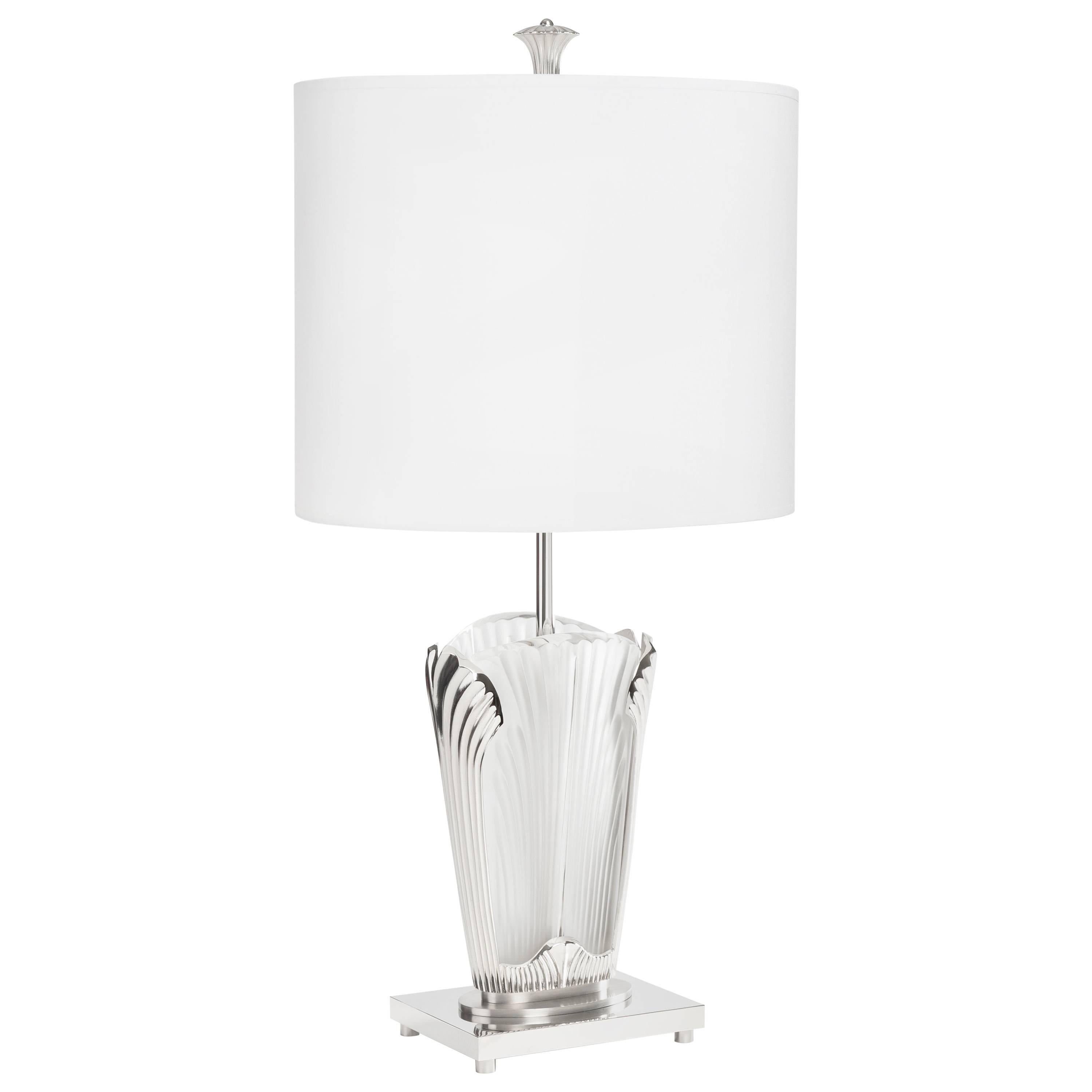 Ginkgo-Inspired Crystal and Brushed Nickel Table Lamp by Lalique & Delisle