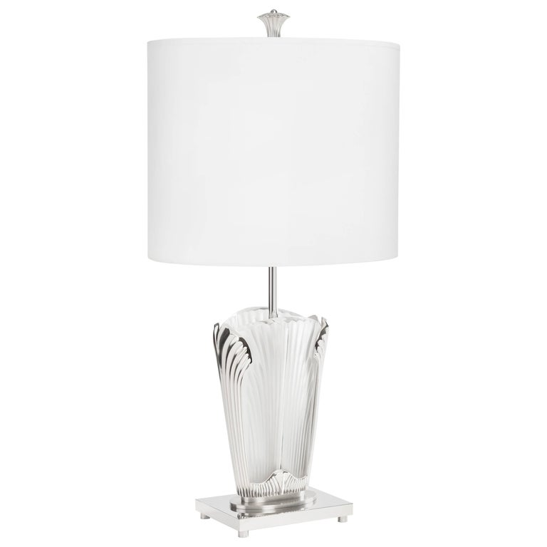 Ginkgo inspired crystal and brushed nickel table lamp by lalique and ginkgo inspired crystal and brushed nickel table lamp by lalique delisle for sale aloadofball Image collections