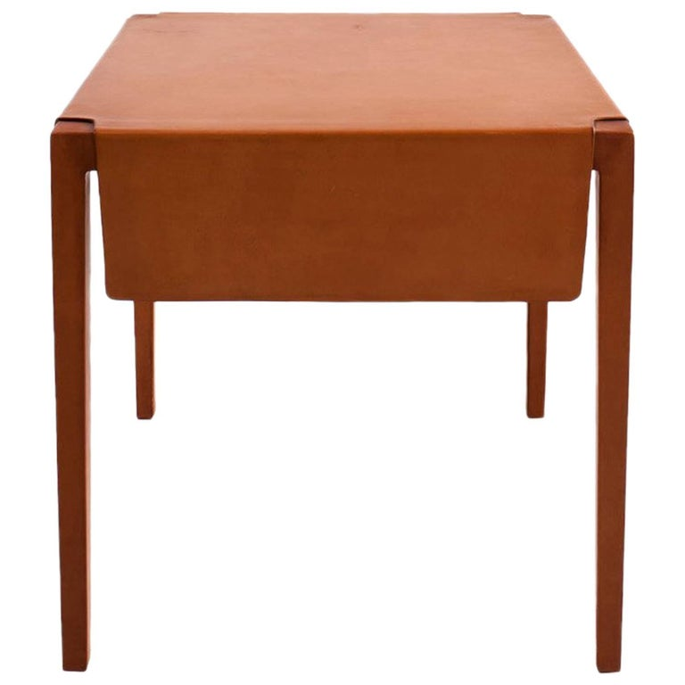 Emile Side Table or End Table with Russet Molded Leather over Maple Frame For Sale