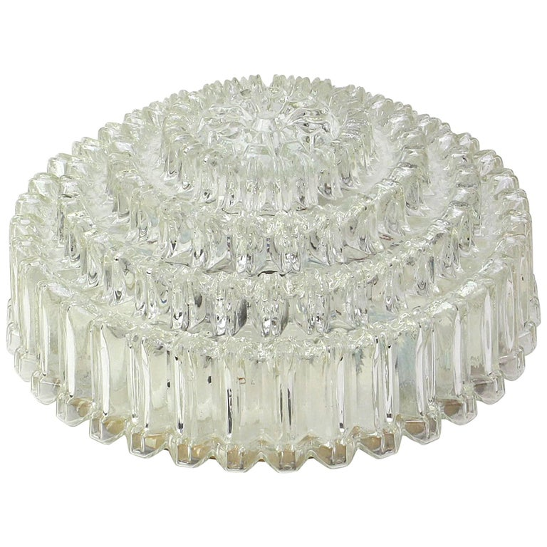 Round Textured Glass Flush Mount by Limburg, Germany, 1970s