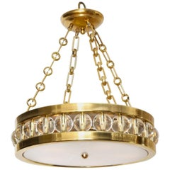Tambour Pendant Light in Brass with Chain by David Duncan