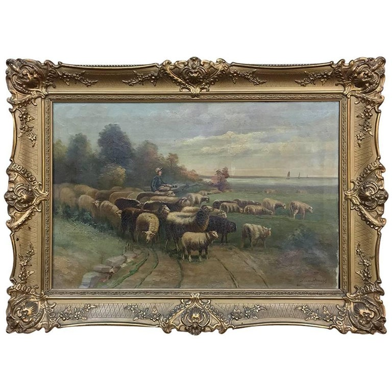 19th Century Framed Oil Painting on Canvas by Jovan Storoset