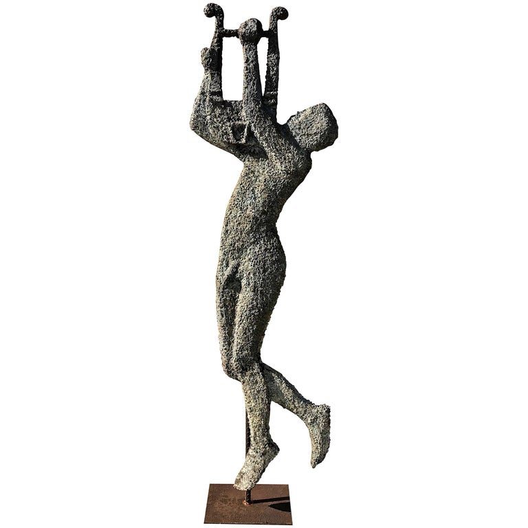 French Modern Zinc and Iron Sculpture of Apollo with His Lyre