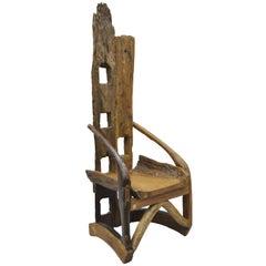 High Back Sculptural Root Burl Wood Tree Log Free Form Lounge Chair Modern