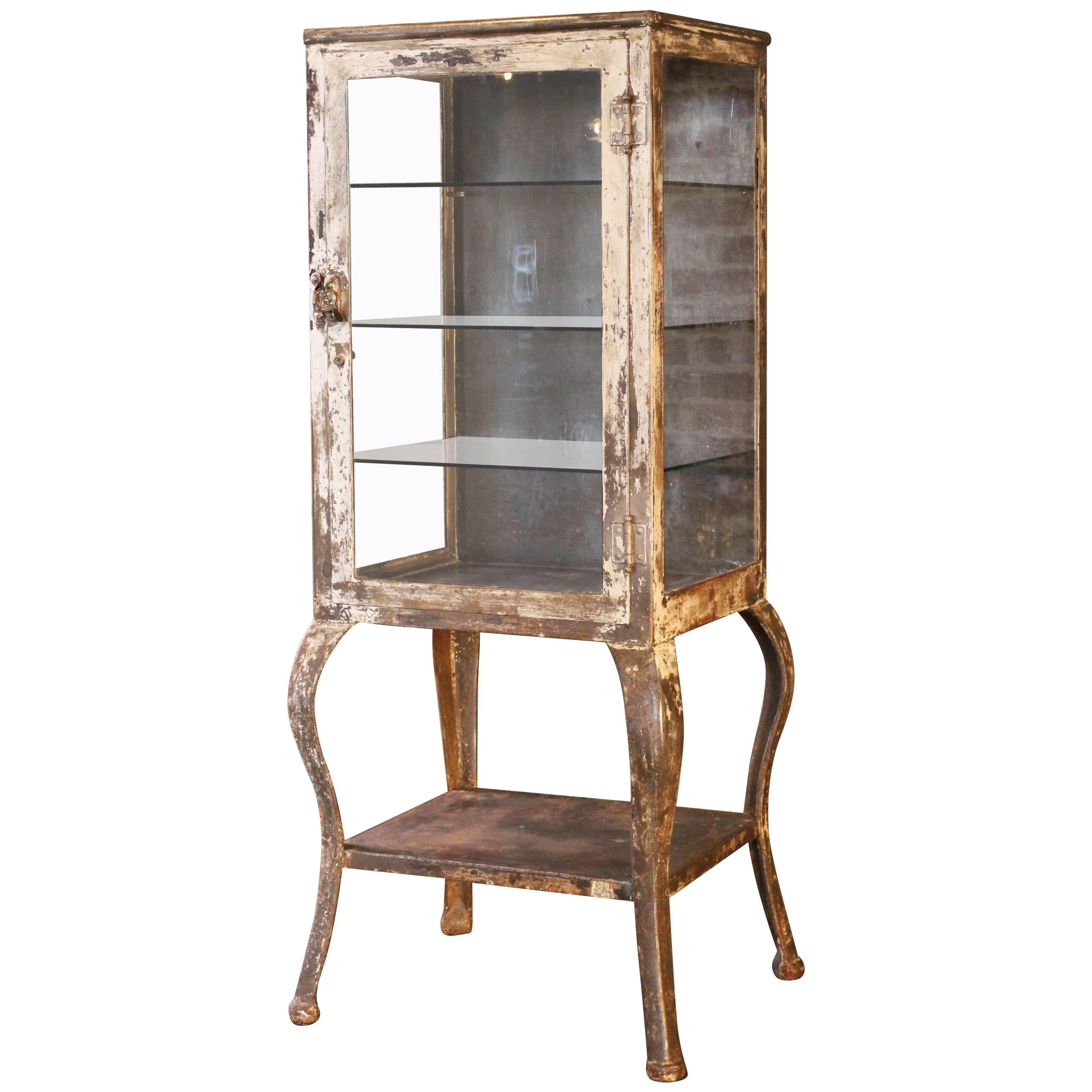 Antique Medical Cabinet With Cabriole Legs, Steel And Glass Apothecary For  Sale