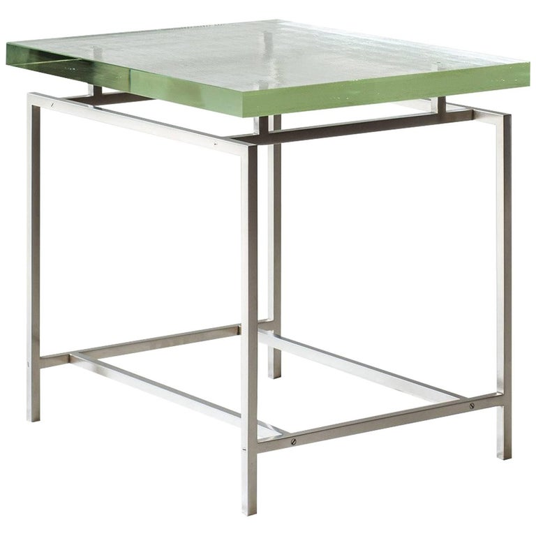Frazier Side Table with Thick Borosilicate Glass Top and Nickel Base