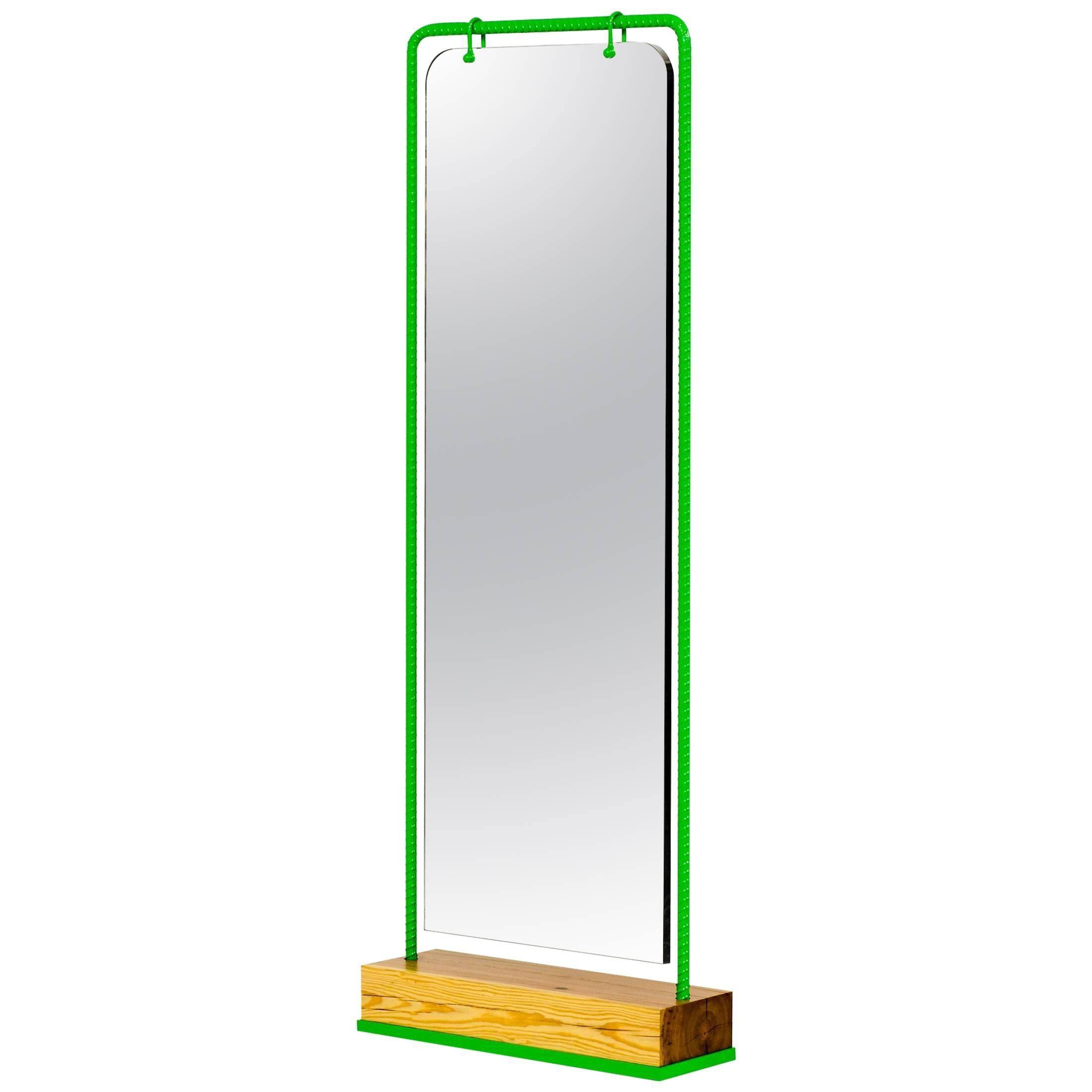 Lime Green Rebar Steel Mirror With Ancient Pine Base