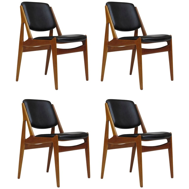 Six Arne Vodder Danish Teak Dining Chairs in New Black Leather