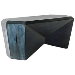 Hedra HCT, Geometric Steel Table or Bench with Blue Patina by Topher Gent