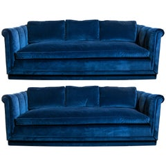 Pair of Channel Tufted Sofas in Sapphire Velvet
