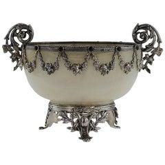 Antique 19th Century Austrian Solid Silver and Gem Set Agate Bowl, circa 1880