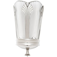 Ginkgo-Inspired Crystal and Brushed Nickel Wall Sconce by Lalique & Delisle