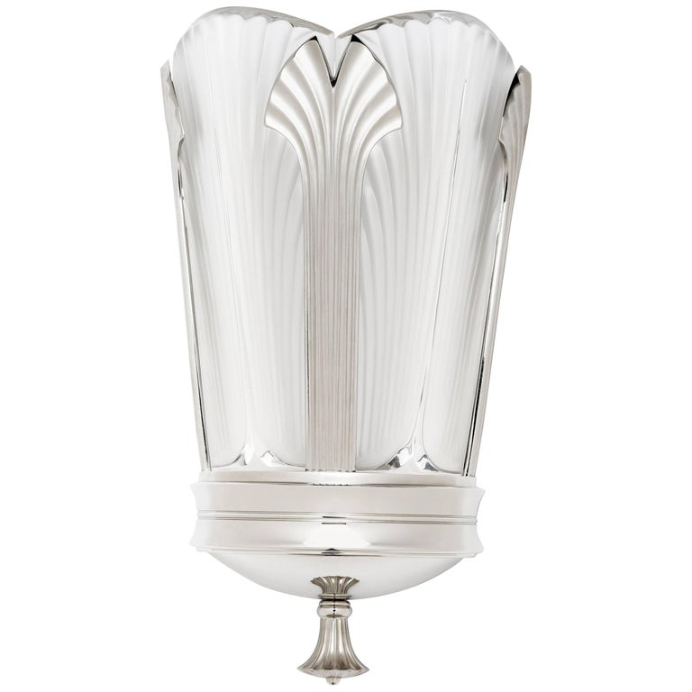 Ginkgo-Inspired Crystal and Brushed Nickel Wall Sconce by Lalique & Delisle For Sale