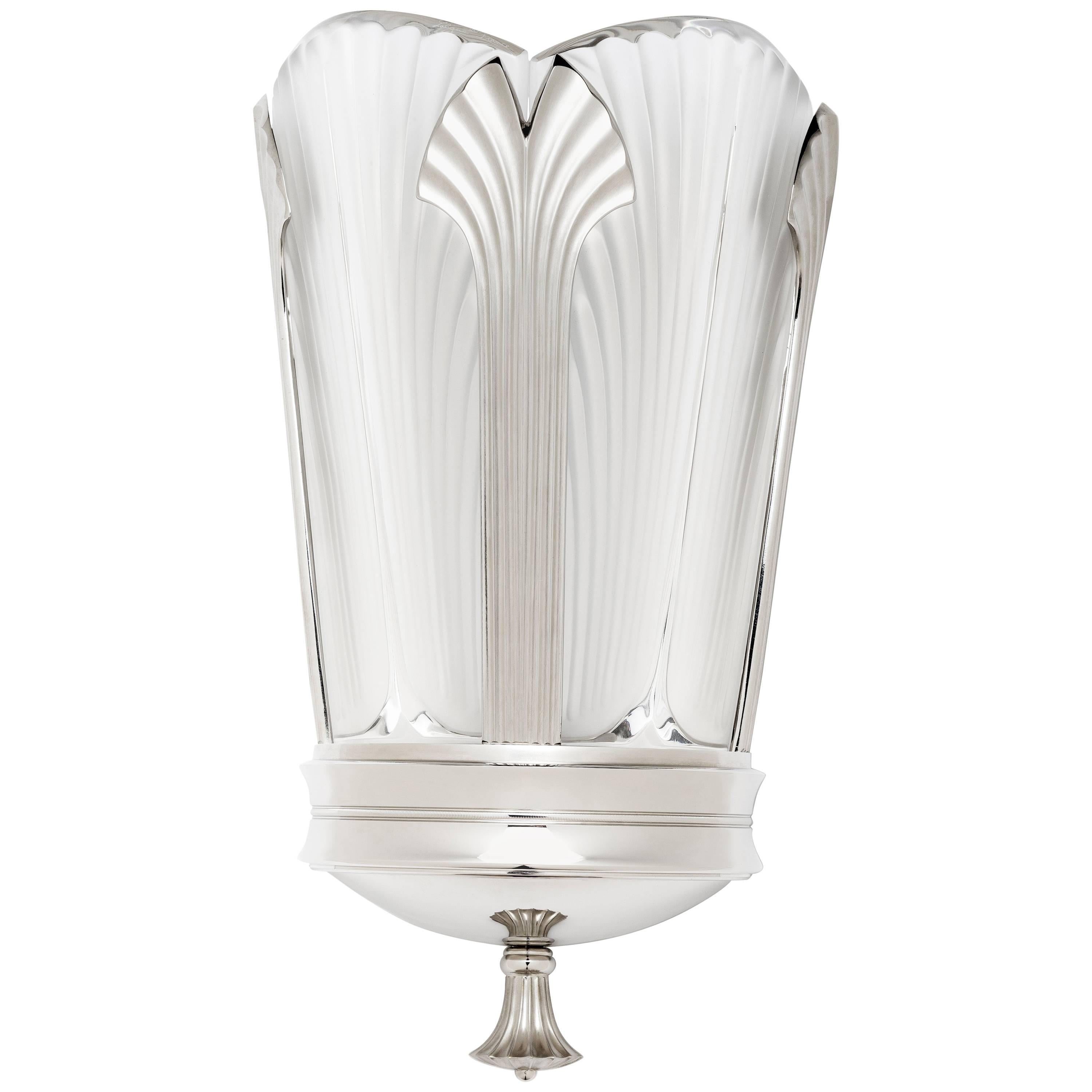 crystal and brushed nickel wall sconce by lalique u0026 delisle 1