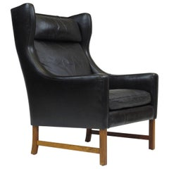 Fredrik Kayser Rosewood and Black Leather High-Back Danish Lounge Chair