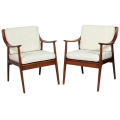 Pair of Danish Modern Lounge Chairs Attributed to Hvidt & Molgaard Nielsen