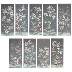Set of Nine Original Vintage Gracie Wall Panels