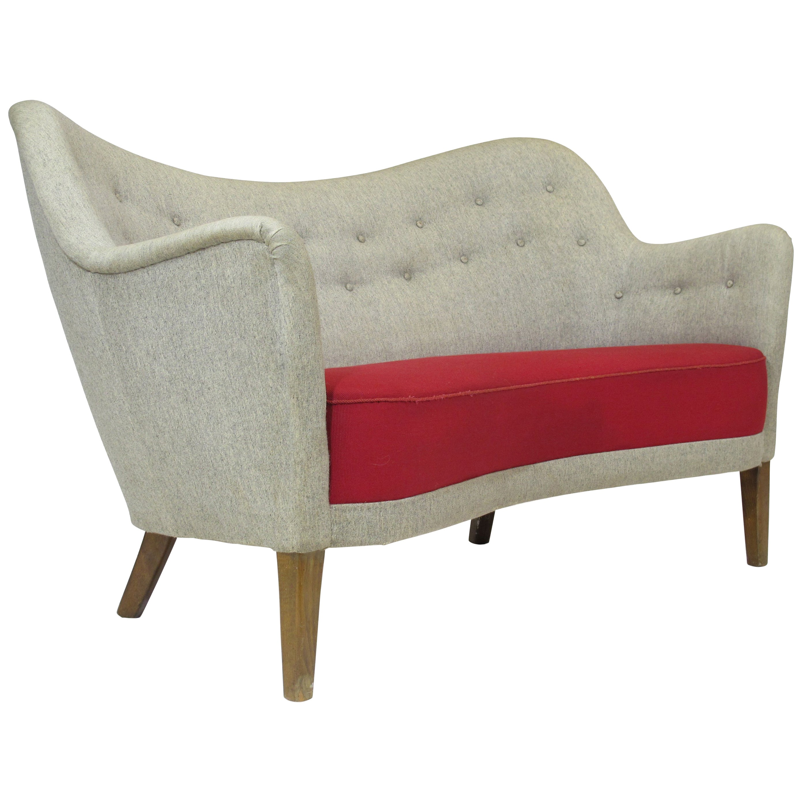 Late 1940s Danish Settee in Manner of Finn Juhl Settee by Carl Brorup