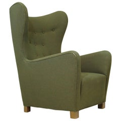 1942 Fritz Hansen Model 1672 Wing Back Chair in the Original Green Wool Fabric