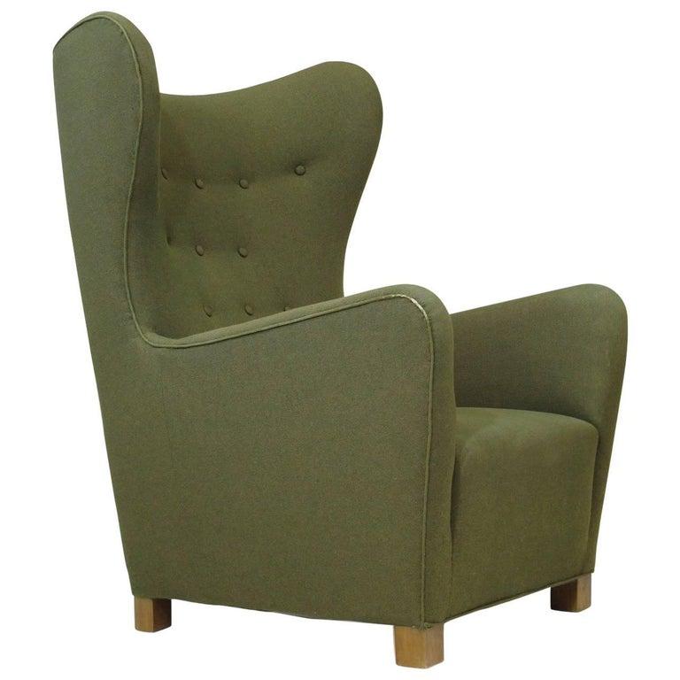 1942 Fritz Hansen Model 1672 Wing Back Chair in the Original Green Wool Fabric