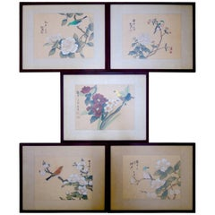 Five Vintage Chinoiserie Style Chinese Paintings of Birds and Flowers on Silk