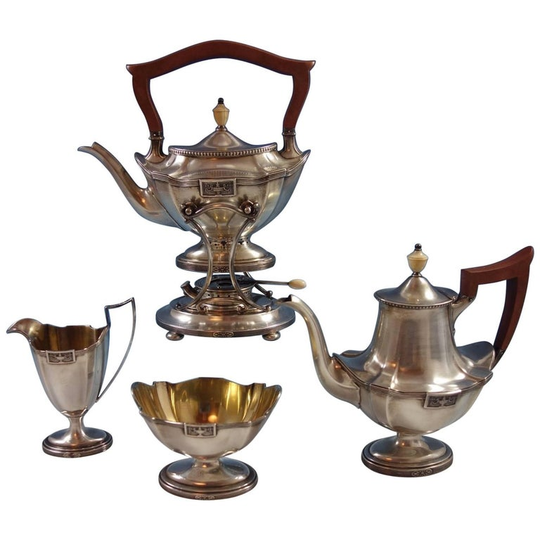 Lansdowne by Gorham Sterling Silver 4 Piece Tea Set Wood Handle Hollowware
