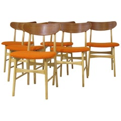 Basic Danish Teak and Beech Dining Chairs with New Orange Seats