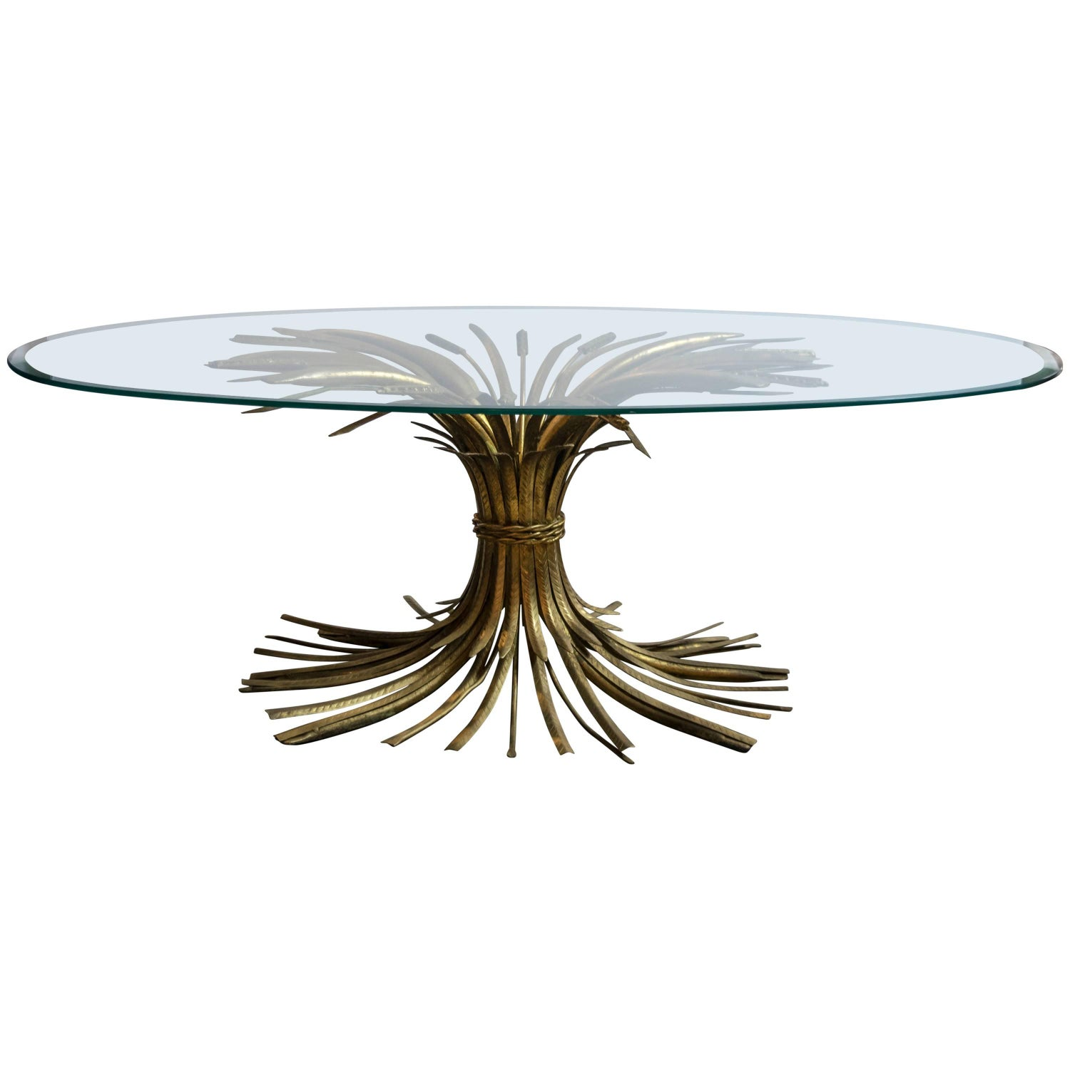 Brass Hollywood Regency Wheat Sheaf Oval Coffee Table For Sale at