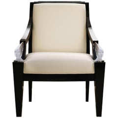 Lalique Maison Ivory Silk Classic Armchair with Victoire Crystal Accent