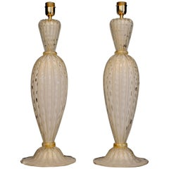 Alberto Dona Pair of White Ivory Table Lamps, Rigadin Balloton with Gold Leaf