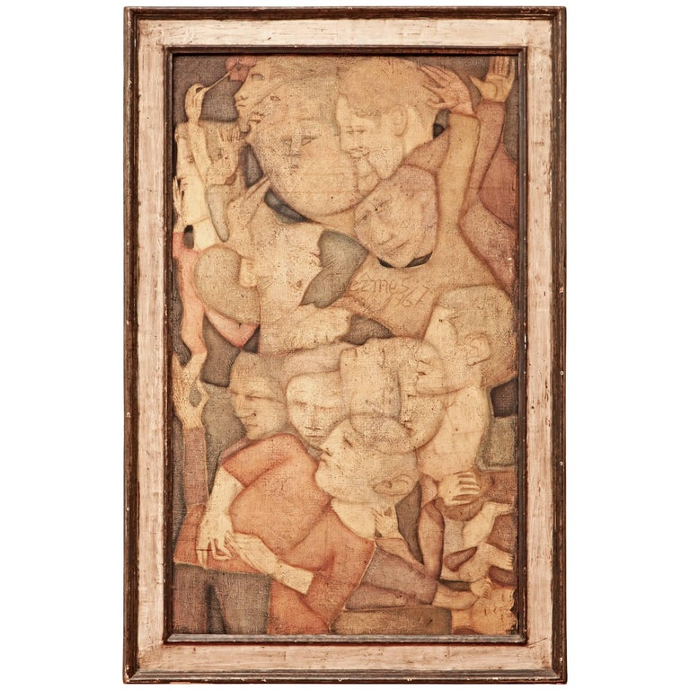 60's Abstract Figural Oil Painting