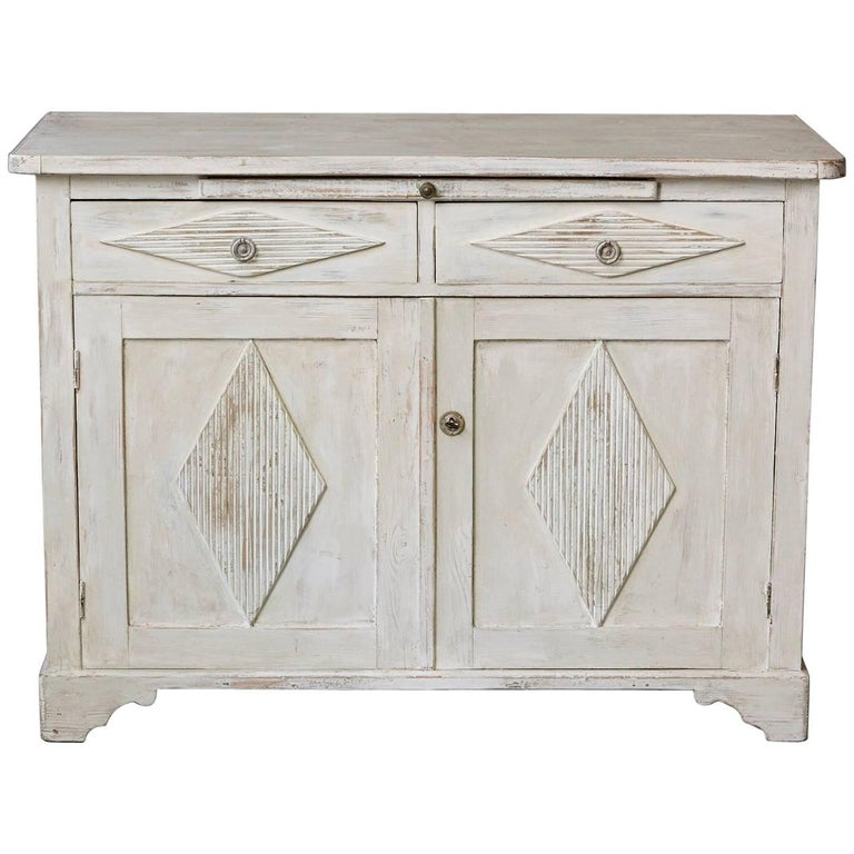 19th Century Swedish Gustavian Sideboard with Diamond Shape Reeded Details For Sale