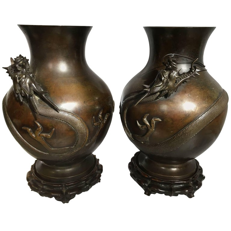 Pair of Japanese 19th Century Bronze Vases For Sale