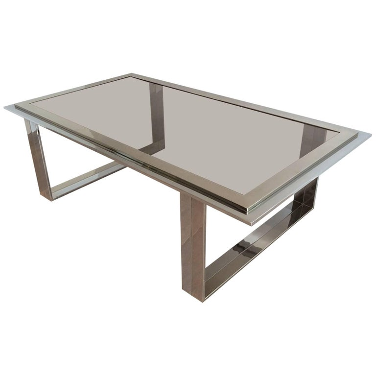 Chrome and Brass Design Coffee Table Attributed to Willy Rizzo