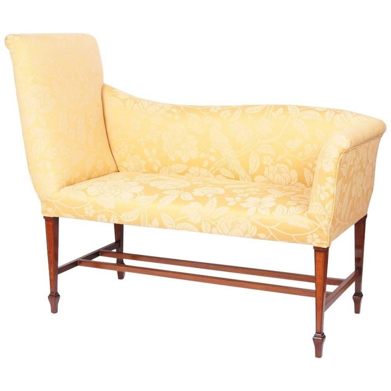 Window Seat Upholstered in Gold Colored Brocade For Sale
