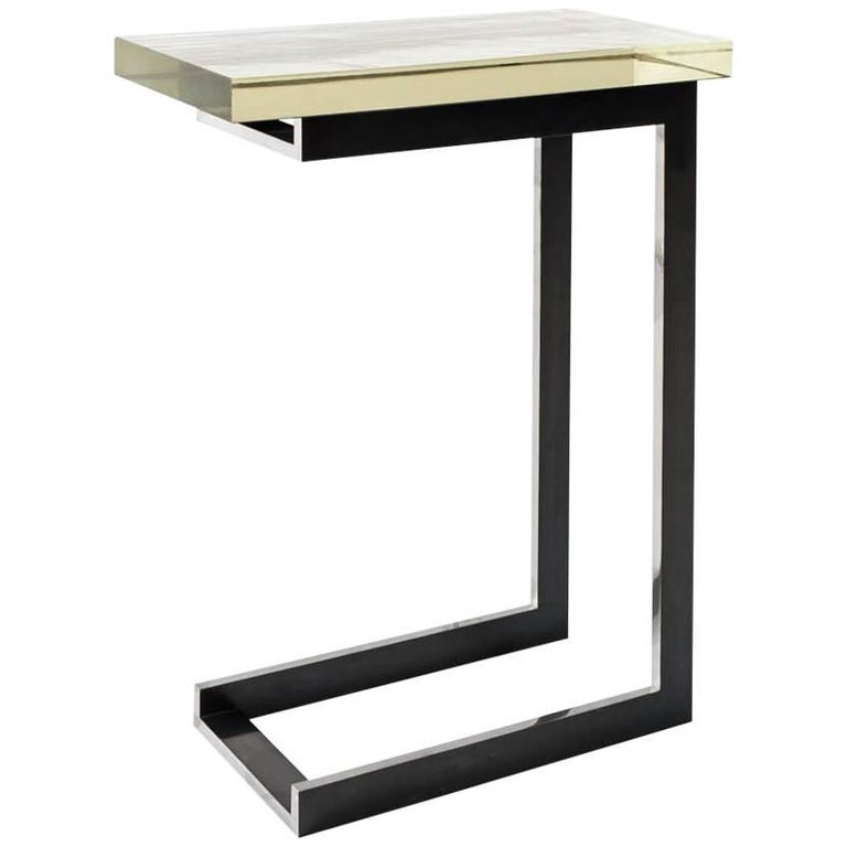 Dempsey Side Table with Mirrored Borosilicate Glass Top and Nickel Base For Sale