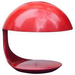 Rare Red Cobra Table Lamp by Elio Martinelli, Italy