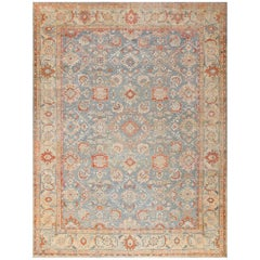 Grayish Background Antique Sultanabad Persian Rug