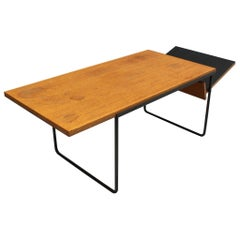 French Midcentury Oak and Laminate Coffee/Magazine Table with a Metal Base