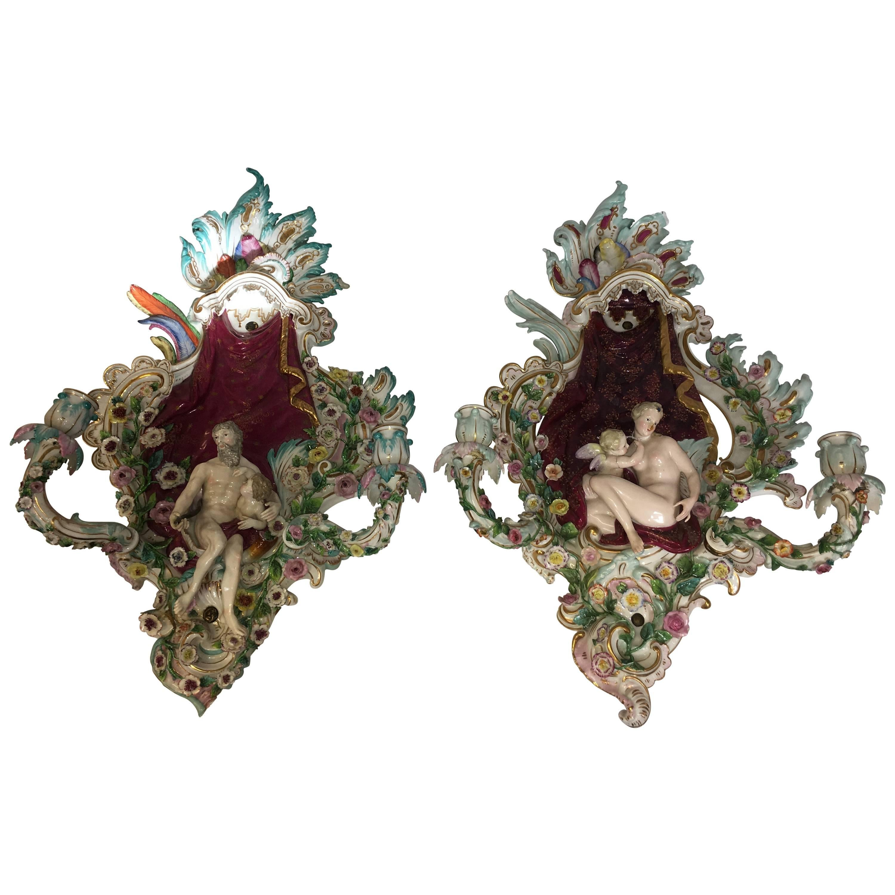 Pair of Meissen Wall Sconces, 19th Century