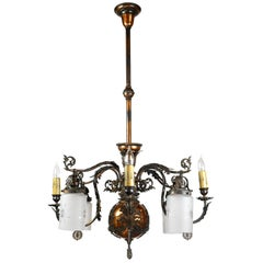 Japanned Finish Gas and Electric Chandelier, circa 1890
