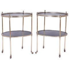 Chic Pair of Midcentury Brass Serving Carts or End Tables