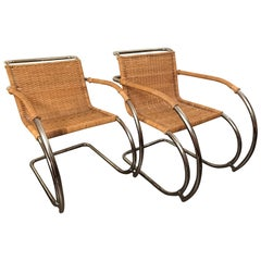 Pair of Mid-20th Century Ludwig Mies van der Rohe MR20 Rattan Chrome Armchairs